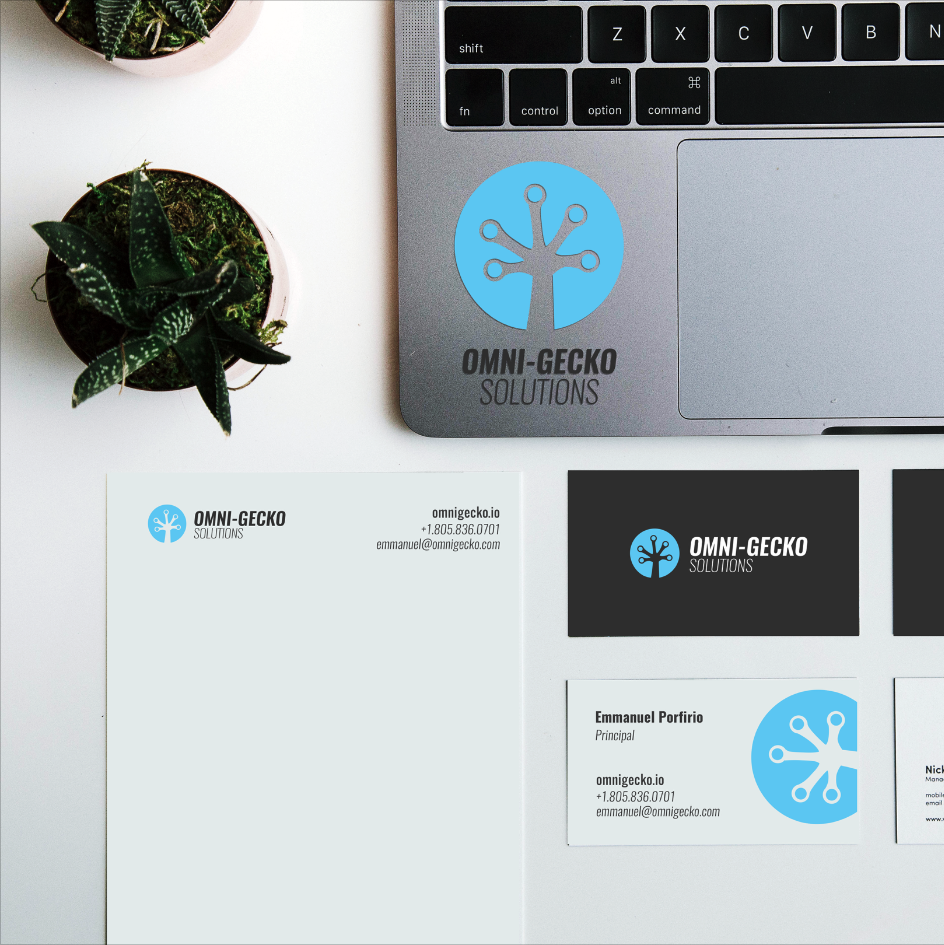 Logo Implementation Business Card Design Omni Gecko Solutions